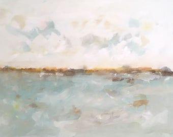 Light blue abstract seascape -Quiet Coast 48 x 36