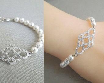 Pearl Bridal Bracelet, Wedding Bracelet, ivory  pearl swarovski Crystal Bracelet, Swarovski Pearl Bracelet Cuff, Simple Bridal Jewelry, KYRA