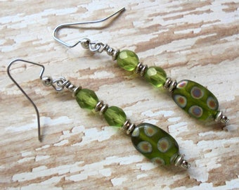 Olive Green and Silver Earrings (3446)