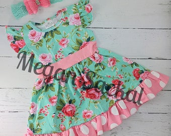 Free Shipping, Aqua and Coral Floral Dress with Headband, Spring Dress, Floral Dress, Pink and Mint Floral Dress