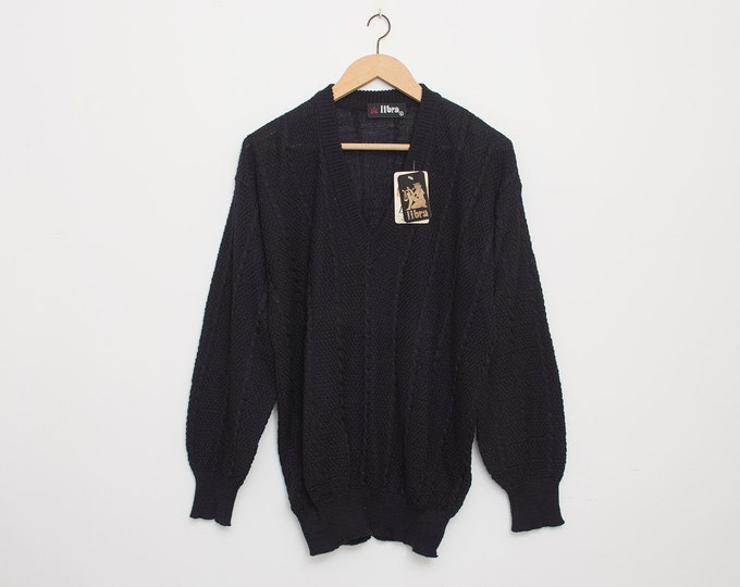 Sweater 90s vintage black V neck deadstock