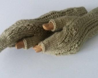 Light olive colour Half Finger-Knitting Fingerless Gloves-READY TO SHIP
