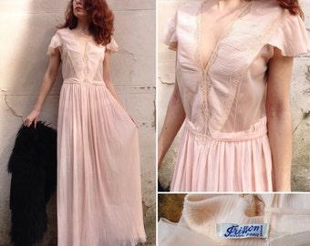 Frisson des années 1930 Français rayonne Rose nude robe romantique dentelle inserts & plis Sz M