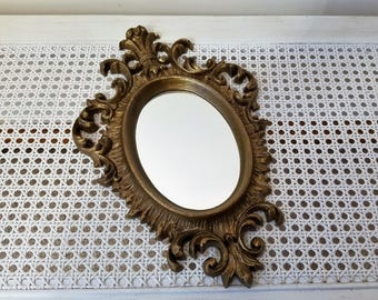 Vintage Ornate Gold Wall Mirror by Burwood USA, Hollywood Regency Flourishes Fleur de Lis, Gallery Wall Decor