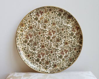 Vintage Tray Round Floral Paper Mache Cream With Gold Burgundy Flowers Vines Green Leaves, Made in Japan, Boho Asian Decor