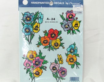 Vintage Decoral Home Decor Window Decal Sheet A-34 Hand Painted Pansy Flowers