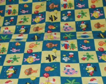Joann Fabrics Flannel Christmas Fish Print Blue Yellow Check Print Sewing Quilting Crafting Fabric Two Yards 517
