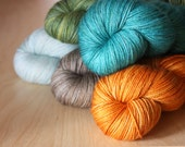 Hand Dyed Mini Skeins / Fingering Weight MCN Yarn / Spring Rain Aqua Turquoise Orange Shale Superwash Merino Wool Cashmere Nylon