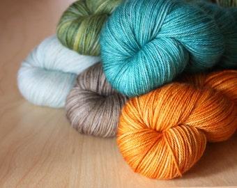 Hand Dyed Mini Skeins / Fingering Weight MCN Yarn / Spring Rain Aqua Turquoise Orange Shale Superwash Merino Wool Cashmere Nylon