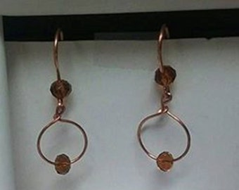 Handmade Raw Copper Hoop Dangle Earrings with Topaz Crystals, Gifts for Her, Drop Earrings Jewelry, Mothers Day Gift, Crystal Jewelry