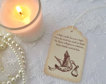 Stork Candle Favor Tags Baby Shower Neutral Boy or Girl Set of 10