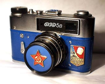Blue Vintage Red Star USSR FED-5B camera Russian Leica -=Champion of Communistic Work=-