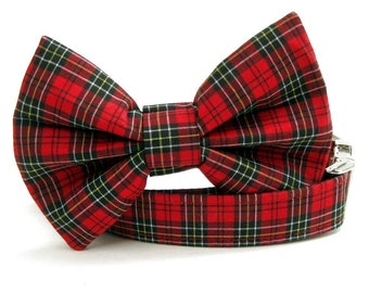 Red and Black Plaid Bow Tie Dog Collar - Wallace Plaid - with Nickel Plate Hardware