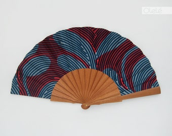 Ankara wax print fan with case | Blue and hot pink graffiti | beach accessory fashion | female design