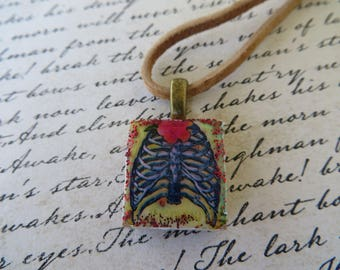 Vintage Look Rib Cage Print Scrabble Tile Pendant With Leather Cord Necklace
