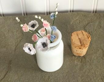 Tiny Milk Glass Bottle Flower Vase or Treasurer Keeper Cork Top Metal Band Farmhouse Cottage Style Decor