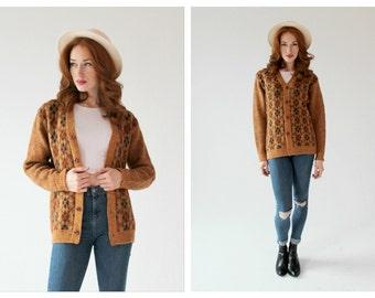 50s Argyle Grandpa Cardigan Sweater- M, Vintage Brown Taupe Button Front, Retro Grunge Jumper