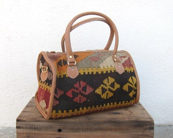 Vintage Ethnic Turkish Kilim w/Tan Leather Speedy Tote Bag