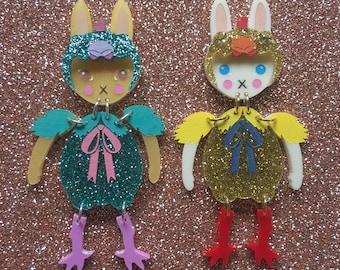 Easter Chicken Dress Up Bunny Buddy Brooch