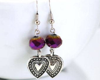 Purple Heart Earrings Womens Fashion Earrings made with purple crystals, charms - Graduate Gifts