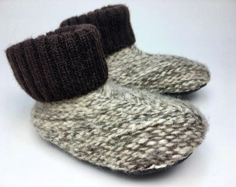 Wooly Wearables Slippers, 12-18 months, Wool Sweater Slippers, Shoe Size 2-3, Waldorf, Winter Shoes, Non Slip Grippy Bottom,  felted booties
