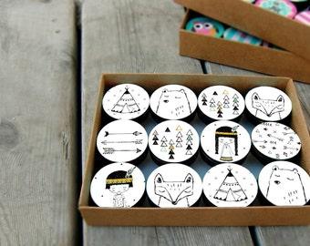 Set of Black & white wooden drawer handle , Native American design Knobs, children's room decor, Drawer Knobs 1.8 inches