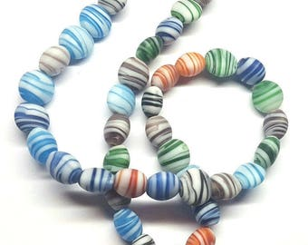 10mm Puffed Flat Round Marbled Matte Multicolored Glass Beads - 16 inch Strand