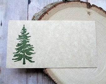 Pine Tree Place Cards Rustic Country Mountain Wedding Escort Cards Seating Name Card Christmas