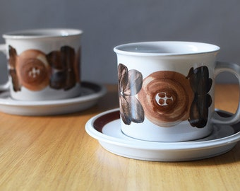 Vintage Arabia Finland Anemone Rosmarin Cups and Saucers Ulla Procope