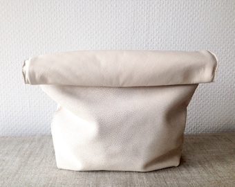White And Pattern Genuine Soft Leather Clutch