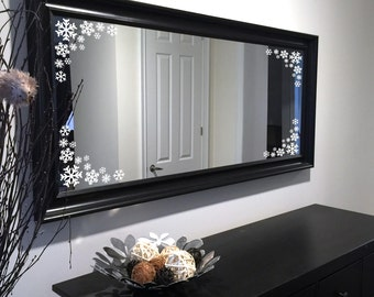 Frosty Winter Snowflakes - Mirror Decals Holiday Home Decor Choose Your Style and Colour
