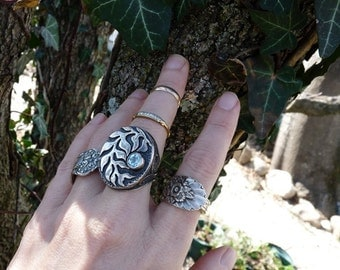 Vintage Sterling Silver Tribal Gypsy Ring, Talisman Leaf & Vine Ring, offered by RusticGypsyCreations