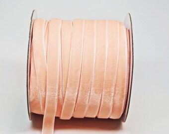 Velvet Woven Ribbon Trim -- 3/8 inches -- Shrimp Pink