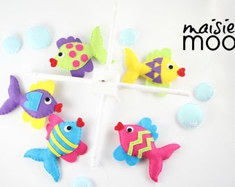 Kissing Fish Baby Mobile - Rainbow Fish Mobile - Under the Sea Nursery - Felt Fish Mobile