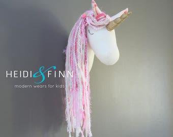 Unicorn Faux Taxidermy wall decor pink pastel horse head room nursery gold pony art