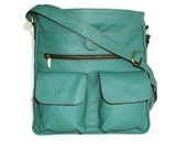 "Teal Green Leather Messenger Bag // Leather Cross-body Purse // Leather Handbag Iris fits 11"" laptop & ipad"