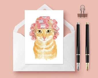 Cat Greeting Card - Blank 5x7 Card, Cat Watercolor, Cute Cat, Cat Lover Gift, Orange Tabby, Stationary