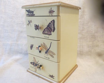 Insect Butterfly Dragonfly Grasshopper Design Miniature Chest of Drawers