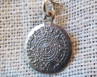 Mayan Calendar Mexico Sterling Silver Charm