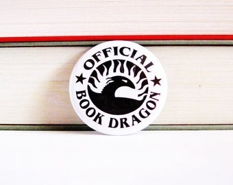 Book Pinback Buttons Official Dragon Bookworms Librarian Geeky Accessories