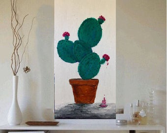 Cactus Original acrylic painting 12 x 30 x 1.25  Ready to  Ship Free in US