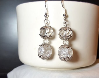 Elegant Crystal Earrings Crackle Glass and Crystal Earrings
