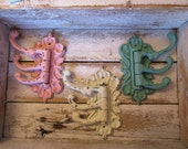 Architectural Swing Wall Hook You Choose Color Triple Cast Iron Cottage Rustic Victorian Casual Farmhouse Custom Coat Hook Hanger H-19