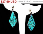"Mexican Turquoise Sterling Earrings - ""no"" and ""si"" Statement Earrings - Crushed Turquosie - Signed Hecho en Mexico 925 D.F."