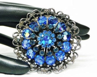 Round Blue Rhinestone Brooch in Steel Grey Filigree Pin - Designer Signed Vintage WEISS Pin
