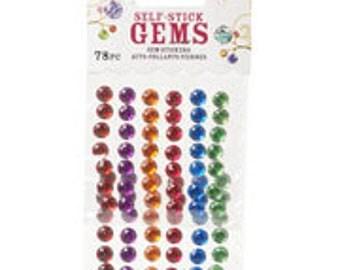 Stick On Rhinestones - Round - Juicy Jewel Colors - 7mm - 78 pieces