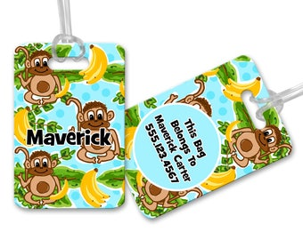 Monkey's and Bananas Kids Personalized Bag or Luggage Tag, Custom Personalized Bag Tag, Monogrammed Bag Tags, Kids Personalized Bag Tags