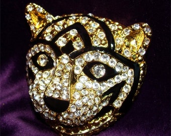 Brooch Tabby TIGER Cheshire CAT Vintage Pin w/ RHINESTONES