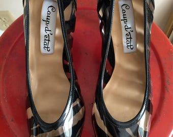 Lucite and Black Patent leather Heels Coup d' Etat Brand Made in Spain Unique Stylin Shoes  Size 7 1/2 B Stylin Heels Unworn
