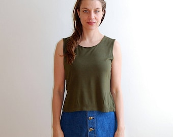 vintage army green tank top